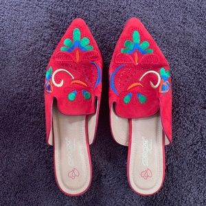 Red loafers w/ funky pattern